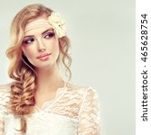 beautiful blonde   model girl ... | Shutterstock . vector #465628754