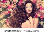 brunette  girl with long  and   ... | Shutterstock . vector #465628841