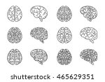 human line brains icons. vector ... | Shutterstock .eps vector #465629351