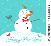 happy smiling snowman play with ... | Shutterstock .eps vector #465630881