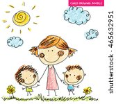 draw child mother mom kids... | Shutterstock .eps vector #465632951
