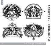 skull front view with vintage...   Shutterstock .eps vector #465635891