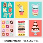 sweet bakery card set. vector... | Shutterstock .eps vector #465659741