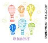 vector set air balloon rainbow... | Shutterstock .eps vector #465660989