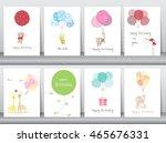 set of birthday cards poster... | Shutterstock .eps vector #465676331