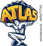 illustration of atlas kneeling... | Shutterstock .eps vector #465677741