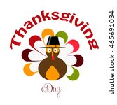 thanksgiving day  turkey with... | Shutterstock .eps vector #465691034