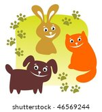 Stock vector cartoon pets and his traces on a green background 46569244