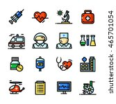 thin line medical icons set ...