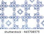 indigo blue flower azulejos...   Shutterstock . vector #465708575