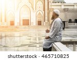 muslim people praying with... | Shutterstock . vector #465710825