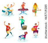 cartoon rock teenage band set....   Shutterstock .eps vector #465719285