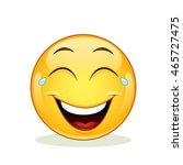 laughing emoticon with tears of ... | Shutterstock .eps vector #465727475