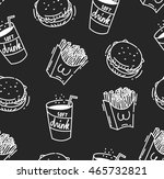 fast food seamless background | Shutterstock .eps vector #465732821