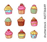 set of cute hand drawn cartoon... | Shutterstock .eps vector #465736649