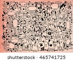 Stock vector animals cats and dogs vector background hand drawn doodles pets cute cats and dogs vector 465741725