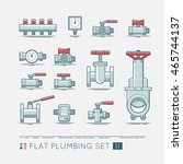 flat plumbing icon set | Shutterstock .eps vector #465744137