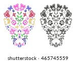 skulls with fantasy flowers and ...