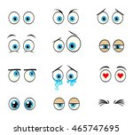 twelwe cartoon eyes expressing... | Shutterstock .eps vector #465747695