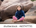 Meditating Little Child With...