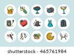 party and celebration icons set ... | Shutterstock .eps vector #465761984