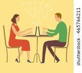 cartoon pair sitting in cafe... | Shutterstock .eps vector #465766211