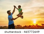 happy family. father and son... | Shutterstock . vector #465772649