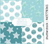 set of 4 dotted seamless... | Shutterstock .eps vector #465778361