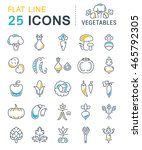 set vector line icons in flat... | Shutterstock .eps vector #465792305
