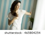 pretty young woman by the... | Shutterstock . vector #465804254