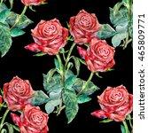 seamless pattern red rose... | Shutterstock . vector #465809771