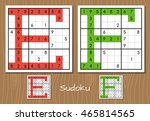 sudoku vector set with answers. ... | Shutterstock .eps vector #465814565