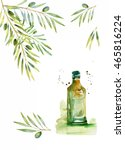 design set with olive branches...   Shutterstock . vector #465816224