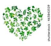 heart made of summer leaves on ... | Shutterstock . vector #465843539