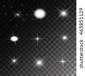 set of vector glowing light... | Shutterstock .eps vector #465851129