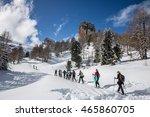 Hikers Snowshoeing Below...