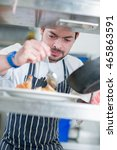 chef putting finishing touches... | Shutterstock . vector #465863591
