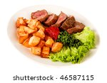 fried meat with potato on white background - stock photo