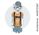 tiger man hipster dressed up in ... | Shutterstock .eps vector #465872369