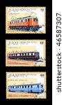 Small photo of SAHARA OCC - CIRCA 1992: Obsolete canceled postage commemorative honoring railroad locomotives, circa 1992, Sahara OCC