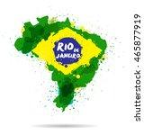brazil map watercolor paints... | Shutterstock .eps vector #465877919