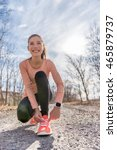 autumn trail runner asian girl... | Shutterstock . vector #465879737
