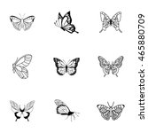 butterfly vector set. simple... | Shutterstock .eps vector #465880709