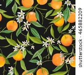 seamless floral pattern. orange ... | Shutterstock .eps vector #465882209