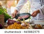 raw meat on black pan. man's...   Shutterstock . vector #465882575