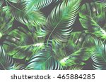 tropical palm leaves seamless... | Shutterstock . vector #465884285
