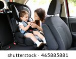 mother and child in car. safety ... | Shutterstock . vector #465885881