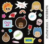 collection of cool kid stickers ... | Shutterstock .eps vector #46588696