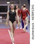 Small photo of Jesolo, Italy - 18 March 2016: IXAJesolo Gymnastics Trophy Cup, Podium Training