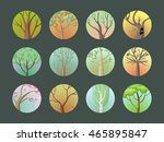 vector trees set. collection of ... | Shutterstock .eps vector #465895847